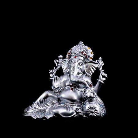 Ganesha Prateado com Pedras