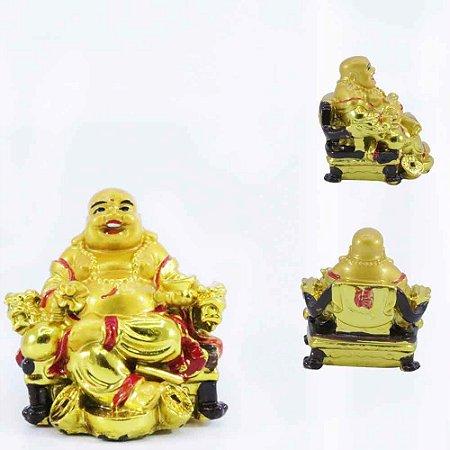 Buda Dourado Sentado Sorrindo
