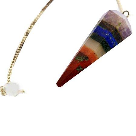 Pêndulo Facetado Pedra 7 Chakras Natural - Prateado