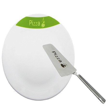 Conjunto para Pizza Branco/ Verde
