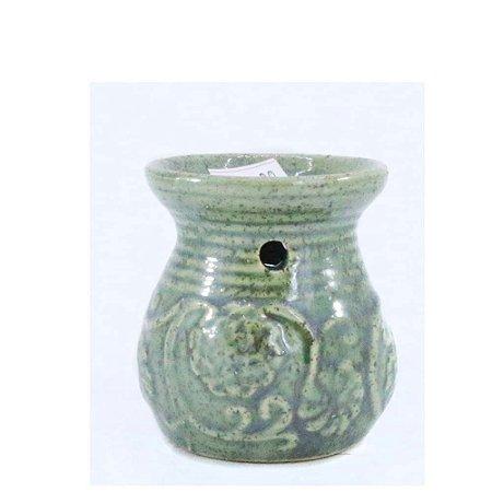 Rechô de Cerâmica com Flores em Relevo - Verde