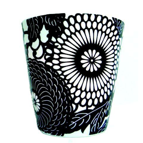 Porta-Velas em Cerâmica Estampada Preta