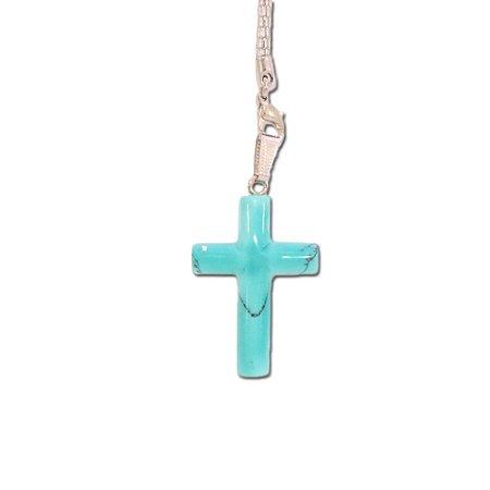Pingente de Cruz em Pedra Azul