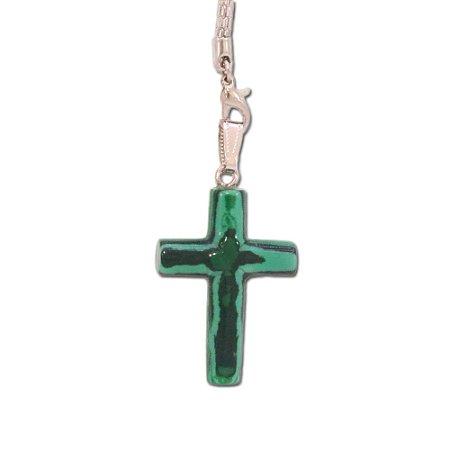 Pingente de Cruz em Pedra Verde