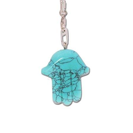 Pingente de Mão em Pedra Azul