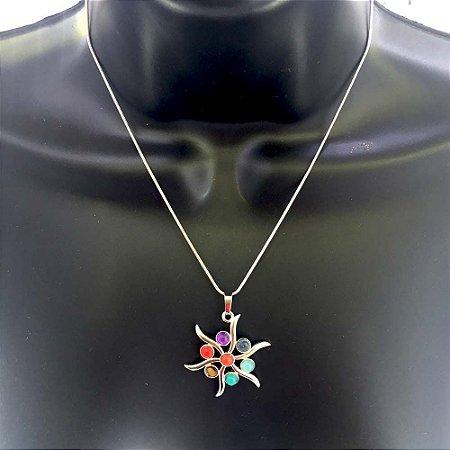 Pingente Estrela Ametista dos 7 chakras