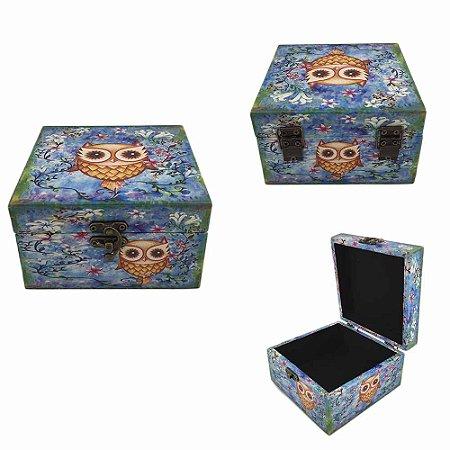 Caixa Porta Jóias Coruja - Azul Pequena