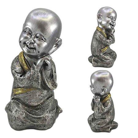 Buda Mantra Prata com detalhe Dourado - B