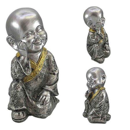 Buda Mantra Prata com detalhe Dourado - A