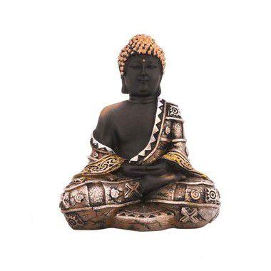 Buda preto sentado em resina - Dourado