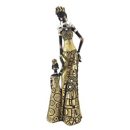 Africana com criança em resina Ouro