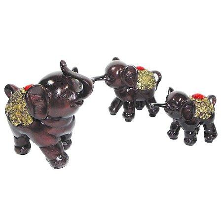 Trio de Elefante Marrom Pequeno