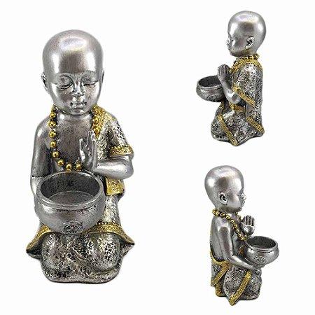 Buda em Resina Prata com Caldeirão