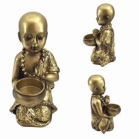Buda em Resina Dourado com Caldeirão