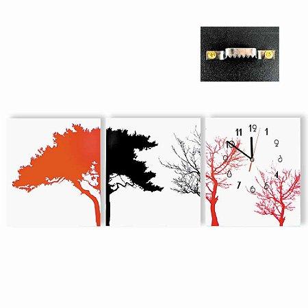 Trio de Quadros com Relógio Árvore