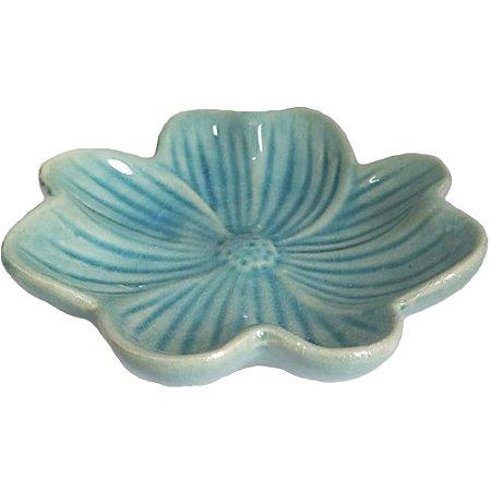 Rechô Flor de Cerâmica Azul