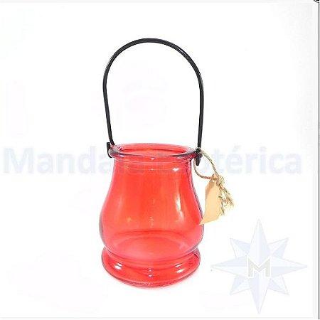 Porta vela de vidro vermelho