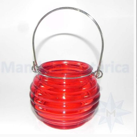 Porta velas de Vidro Colmeia Vermelho