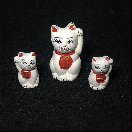 Kit 3 gatos Maneki Neko