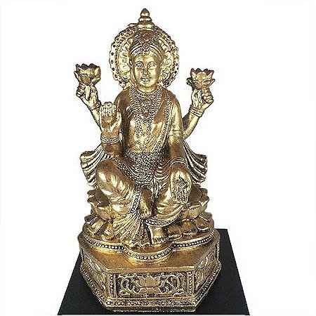 Lakshmi dourada com Base de madeira