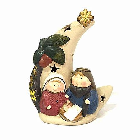 Presépio lua com José, Maria e Menino Jesus
