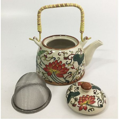 Bule Chaleira de Porcelana com Infusor e Alça 600ml