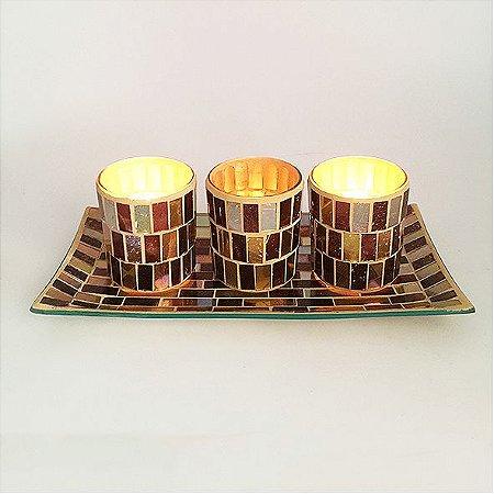 Bandeja com 3 porta velas