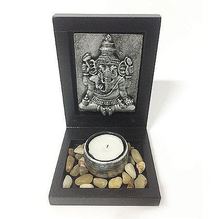 Porta vela com pedras Placa Ganesha