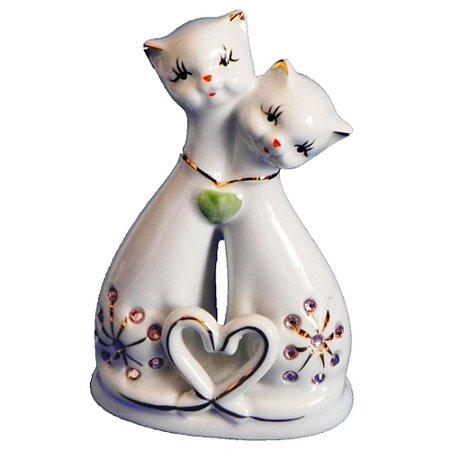 Casal Gatos Cerâmica