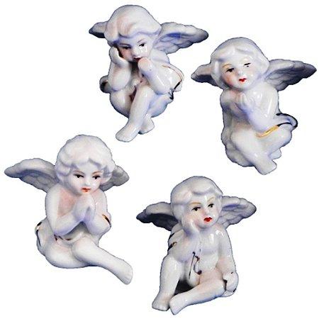 Kit Anjos Sentados Manto Cerâmica B