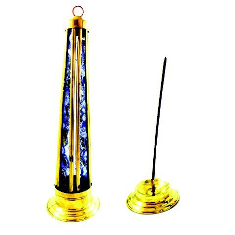 Incensário Torre de Vidro Azul