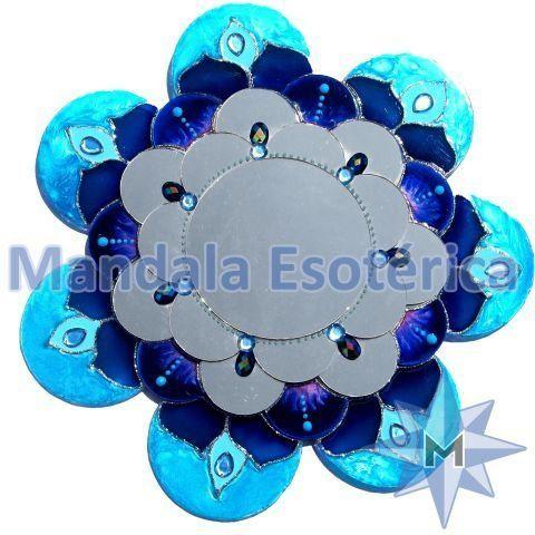 Espelho 28 Pétalas Azul