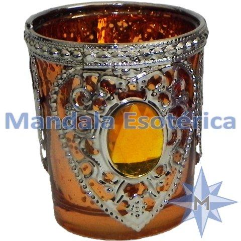Porta Vela Étnico Vidro Metal A