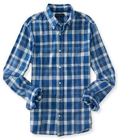 Camisa xadrez Aeropostale masculina Long Sleeve Gingham Woven