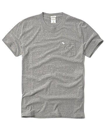 Camiseta Basica Abercrombie Cinza