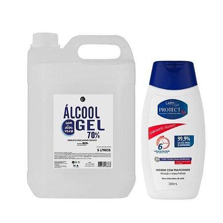 Kit Álcool em gel 70% 5L + Sabonete Protec Bac 200mL
