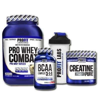 Combo Massa Muscular Whey+Creatina+Bcaa+Shaker Profit Laboratorios