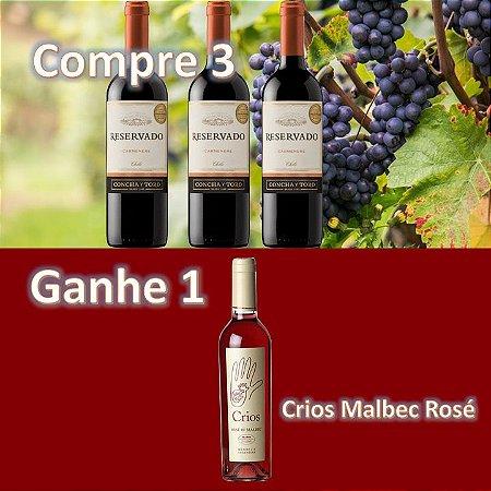 Promoção Concha y Toro Reservado Carmenere + Crios Rosé Malbec Rosé