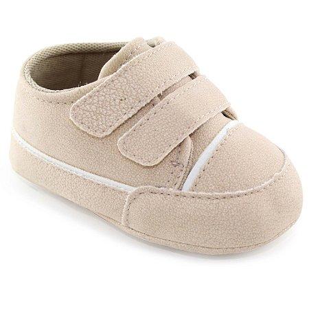Sapatinho de Bebê 2 Tiras e Velcro - Palha - Turma do Pé