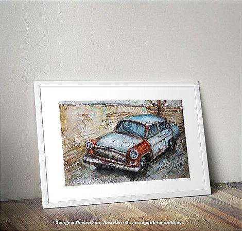 Pintura em AQUARELA - Carro Antigo (por Renato Stegun)