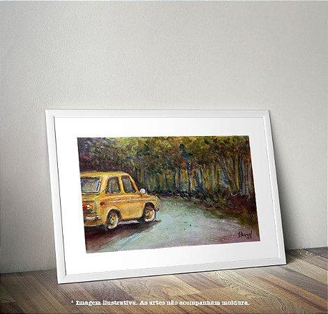 Pintura em AQUARELA - Carro Amarelo (por Renato Stegun)