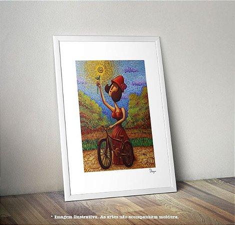 Pôster A Bicicleta e o Girassol (print assinado)