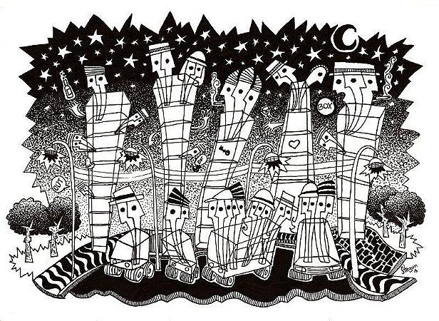 """Desenho série """"OutOFboX #05"""" nanquim s/ papel Canson - arte original com moldura"""
