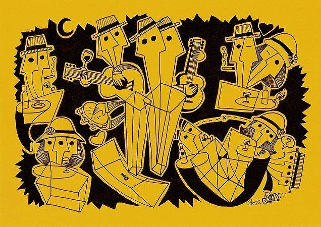"""Desenho série """"OutOFboX #11"""" nanquim s/ papel Canson - arte original com moldura"""