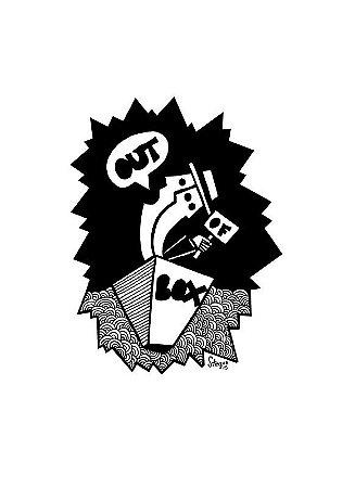 """Desenho série """"OutOFboX #14"""" nanquim s/ papel Canson - arte original com moldura"""