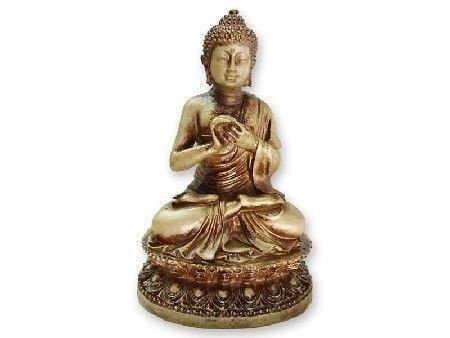 Estátua Buda Hindu Flor de Lotus - 16 cm - Dourado