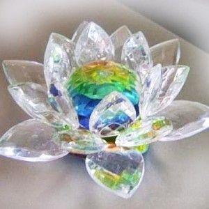 Enfeite Flor de Lotus Vidro 8 cm