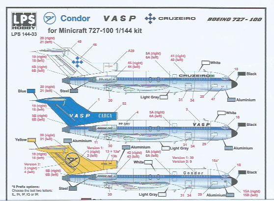 Decal Cruzeiro, Vasp e Condor - Boeing 727-100 - escala 1/144
