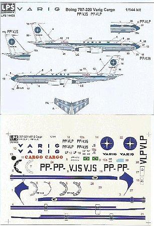 Decal Boeing 707-320  Varig Cargo, escala 1/144, LPS Hobby