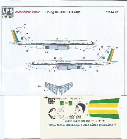 Decal Boeing KC-137 FAB - escala 1/144 - LPS Hobby